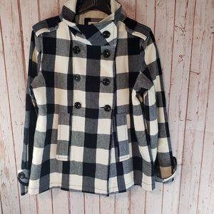 GAP Navy White Plaid Pea Coat Jacket sz XL